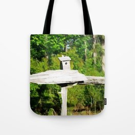Rustic Knotted Pine Wood Fence Birdhouse Yard Art Tote Bag