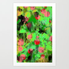 Red dots on green Art Print
