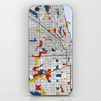 mondrian iPhone & iPod Skins featuring Chicago Mondrian by Mondrian Maps
