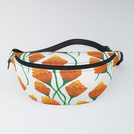 Yellow watercolor pompon flower Fanny Pack