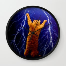cat Thunders lighting space universe galaxy Wall Clock