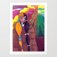Somewhere Between Good & Evil {Mixed Media: watercolor, gouache, acrylic} Art Print