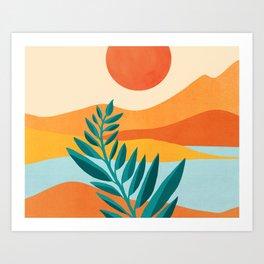 Mountain Sunset / Abstract Landscape Illustration Art Print