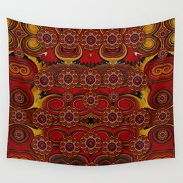 pumkins  in  gold and candles smiling Wall Tapestry