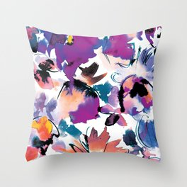 Sara Floral Blue Throw Pillow
