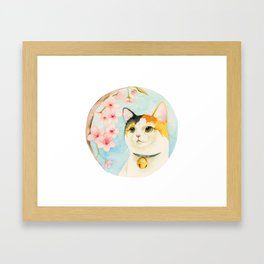 """Hanami"" - Calico Cat and Cherry Blossom Framed Art Print"