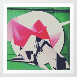 Green Brick Polygon Art Print