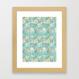 Mint Botanical Pattern Framed Art Print