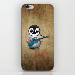 Baby Penguin Playing Turks and Caicos Flag Guitar iPhone Skin