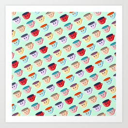 Cute smiling mugs pattern Art Print