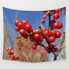 Winterberries glow against a blue autumn sky Wall Tapestry