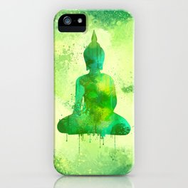 Green Watercolor Buddha Painting iPhone Case
