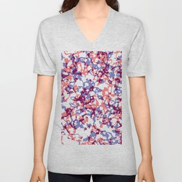 broken, red and blue Unisex V-Neck