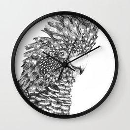 Black Cockatoo Portrait pen and ink Wall Clock