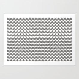 Chevron Zigzag Horizontal Lines Benjamin Moore 2019 Accent Color Cinder Dark Gray AF-705 on Pure Whi Art Print