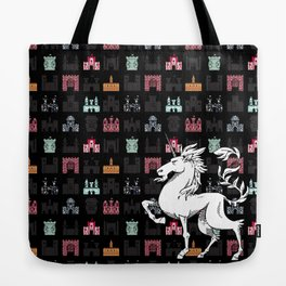 Unicorn on a field of castles Tote Bag