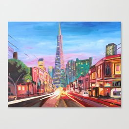 San Francisco - Columbus St. with Cafe Vesuvio Canvas Print