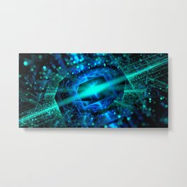abstract green blue star fractal with bokeh Metal Print