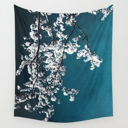 white blossoms Wall Tapestry