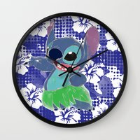 stitch Wall Clocks featuring Stitch  by Nic Moore