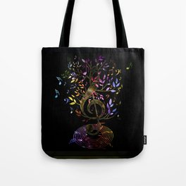Glowing Treble Clef tree with colorful Music Notes Tote Bag