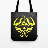 hyrule Tote Bags featuring Hyrule Shield  by WaXaVeJu