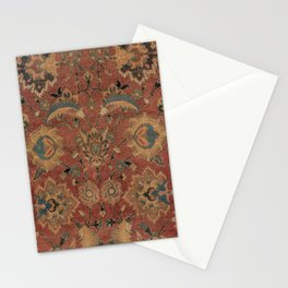 Flowery Boho Rug IV // 17th Century Distressed Colorful Red Navy Blue Burlap Tan Ornate Accent Patte Stationery Cards