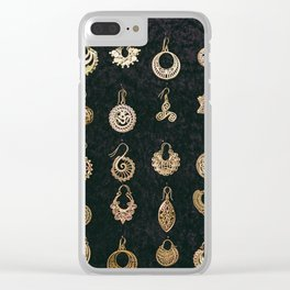 Gold Earrings in Safed Clear iPhone Case