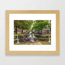 Bike on Canal Bridge (Delft, Netherlands) Framed Art Print