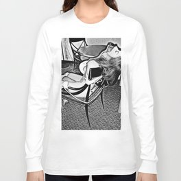 Cartoon erotic, abducted girl tied to chair, mouth taped, sexy slave Long Sleeve T-shirt