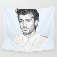 zayn Wall Tapestries featuring Zayn sketch by Coconut Wishes