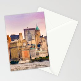 Painting of a very Purple Summer's Sunset over the Skyscrapers of New York City Stationery Cards