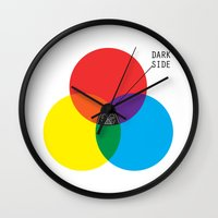 dark side Wall Clocks featuring Dark Side by I Love Doodle