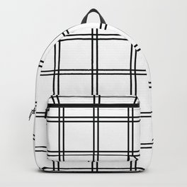 Minimalist Plaid Black And White Backpack