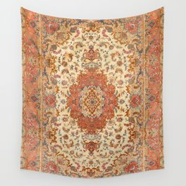 Persia Tabriz 19th Century Authentic Colorful Dusty Tan Red Blush Vintage Patterns Wall Tapestry