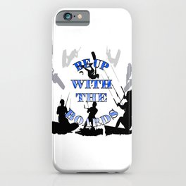 Be Up With The Boards Text And Kitesurfer Vector iPhone Case