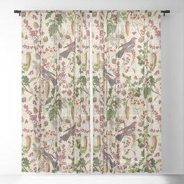 Vintage Birds Botanical Christmas Pattern Sheer Curtain