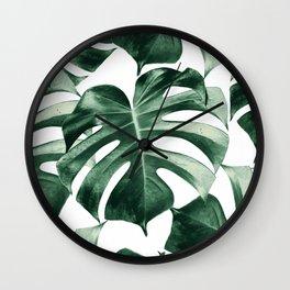 Tropical Monstera Leaves Dream #2 #tropical #decor #art #society6 Wall Clock