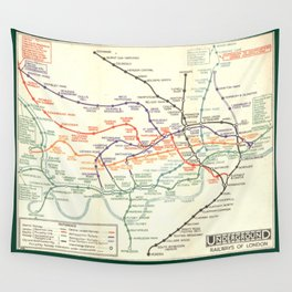 Vintage London Underground Map Wall Tapestry