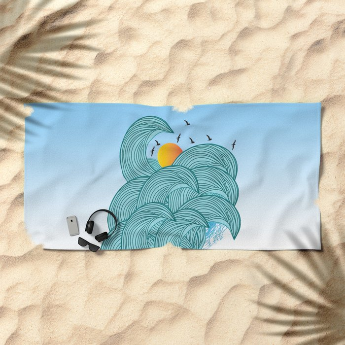 sea wave 4 Beach Towel
