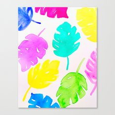 Colorful Monstera Watercolor Leaves Canvas Print
