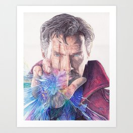 Dr Strange Pen Drawing Art Print