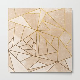 Rustic Stone With Modern Gold Accent Lines Metal Print