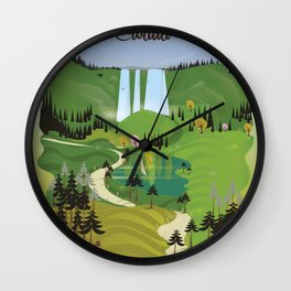 Plitvice Croatia landscape model travel poster. Wall Clock