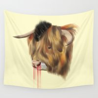 bull Wall Tapestries featuring The Bull by Vasco Vicente