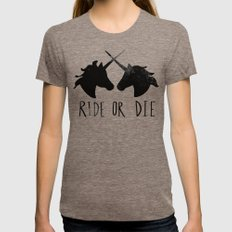 Ride or Die x Unicorns Tri-Coffee Womens Fitted Tee X-LARGE