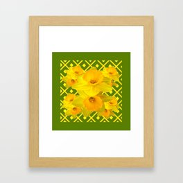 Moss Green Yellow Spring Daffodils Art Framed Art Print