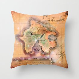 Never Land Map Throw Pillow