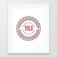 yolo Framed Art Prints featuring YOLO by Jessica Krzywicki