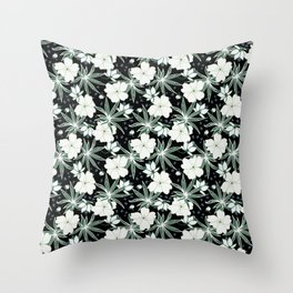 Hawaii floral on dark ground Throw Pillow